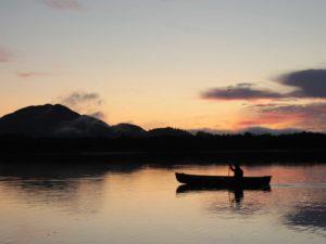 Sunset and canoe